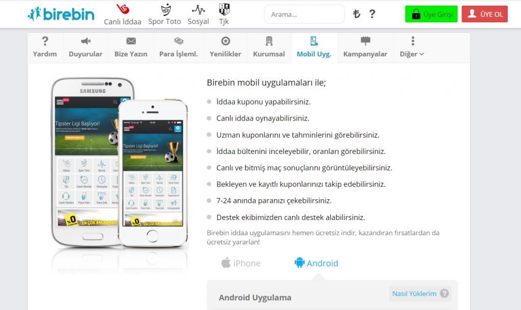 Türkiye'de mobil cihaz ile Birebin giriş